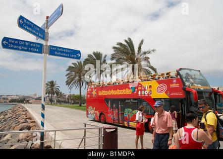 Open top tour bus in Las Palmas on Gran Canaria. - Stock Photo