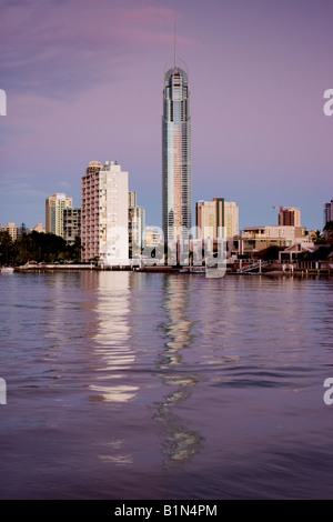Low angle view of Q1 across nerang river - Stock Photo