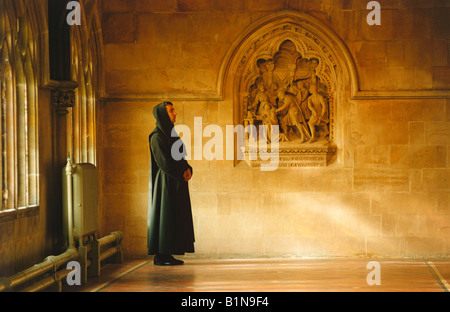 A Benedictine monk at Downside Abbey Somerset UK - Stock Photo