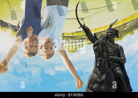 Ban Josip Jelacic statue and inverted billboard advertisement, Zagreb in Croatia - Stock Photo