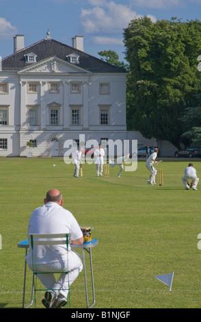 Cricket at Mable Hill Park Twickenham london england uk - Stock Photo