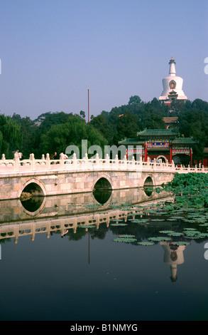 Oct 1, 2006 - The White Dagoba (Bai Ta) on Jade Islet in Beijing's Beihai Park. - Stock Photo
