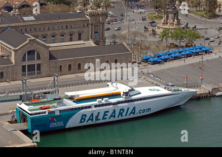 Balearia passenger ferry in dock at Port Vell harbour, Barcelona, Spain - Stock Photo