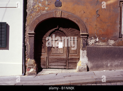 Old house entrance in Mesnicka street Zagreb Croatia - Stock Photo