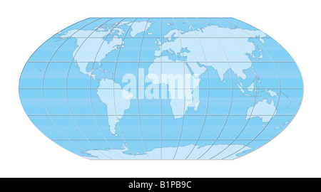 Blue world map projection against white background. - Stock Photo