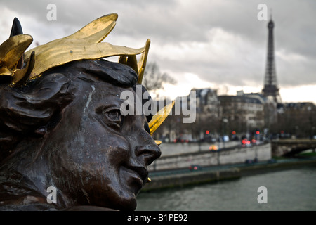 Looking towards the Eiffel Tower from Pont Alexandre III - Stock Photo