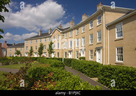 new upmarket terraced houses in Daisy Avenue in Bury St Edmunds, Suffolk, UK - Stock Photo
