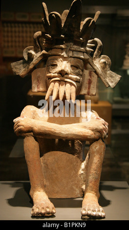 Tlaloc Pueblan God of Water, Pre-Columbian Art from Chicayan, Ozuluama, Veracruz in the National Museum of Anthropology - Stock Photo