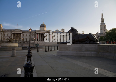 Early morning in Trafalgar Square looking north towards the National Gallery London England UK - Stock Photo