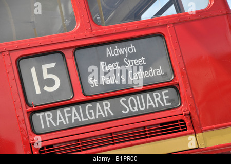 Red Routemaster bus route destination blind on number 15 Heritage service to Trafalgar Square - Stock Photo