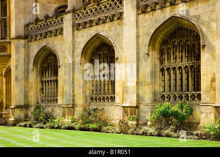 Part of the front of King's College Cambridge University, Cambridge, England, UK - Stock Photo