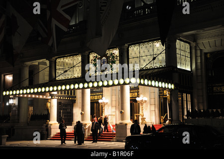 The entrance to New York City's Plaza Hotel at night. The Plaza dates from 1907 and is a New York City landmark. - Stock Photo