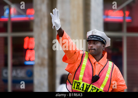 A police officer directs traffic in New York City New York June 4 2008 - Stock Photo