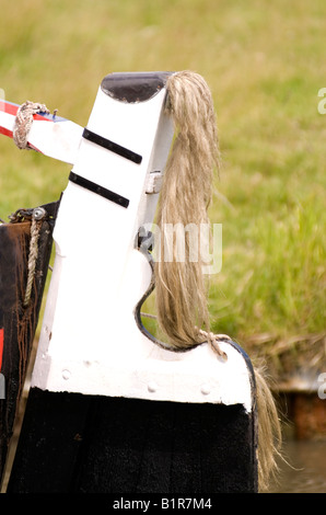 Horses tail on the back of a traditional narrowboat butty tiller at the 2008 Braunston Historic Narrowboat Rally - Stock Photo