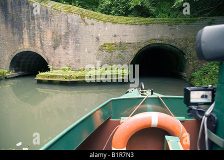 Tourests in a trip narrowboat inside Dudley Tunnel Black Country Living Museum Tipton Junction Dudley canal West - Stock Photo