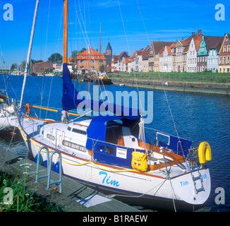 sailing boats at the inner harbour of Glueckstadt in Northern Germany - Stock Photo