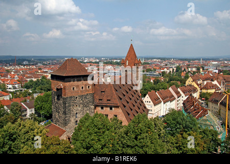 Panoramic view of Kaiserburg Castle, Nuremberg Castle, Middle Franconia, Bavaria, Germany, Europe - Stock Photo