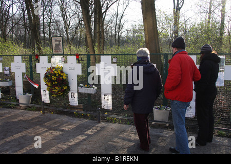 Memorial crosses to remember the victims of the Berlin Wall, Berlin, Germany, Europe - Stock Photo