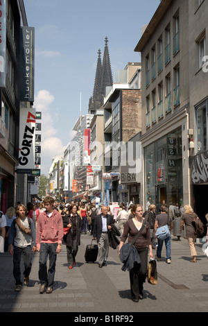 Hohe Strasse, shopping street, pedestrian zone, Cologne, North Rhine-Westphalia, Germany, Europe - Stock Photo