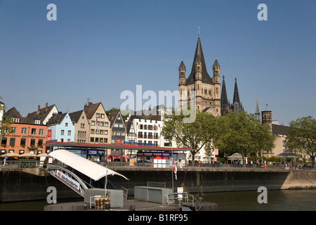 Gross St. Martin Church, historic centre of Cologne, North Rhine-Westphalia, Germany, Europe - Stock Photo