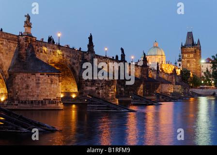 Evening mood, Charles Bridge on the Vltava River, UNESCO World Heritage Site, Prague, Czech Republic, Czechia, Europe - Stock Photo