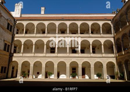 Litomysl Renaissance Castle, UNESCO World Heritage Site, inner courtyard, Litomysl, Eastern Bohemia, Czech Republic, - Stock Photo