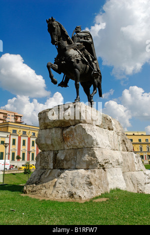 Skanderbeg monument in Skanderbeg Square in Tirana, Albania, Europe - Stock Photo