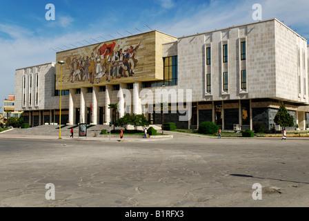 National Museum, Skanderbeg Square, Tirana, Albania, Europe - Stock Photo