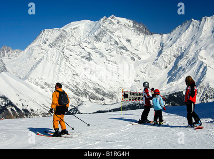 Gervais-Mont Blanc Ski Area, Mont Blanc Massif, Savoyen area, France, Europe - Stock Photo