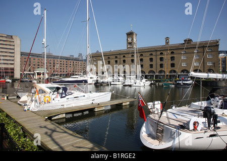 Marina in St. Katharine Docks on the river Thames, London, England, Great Britain, Europe - Stock Photo