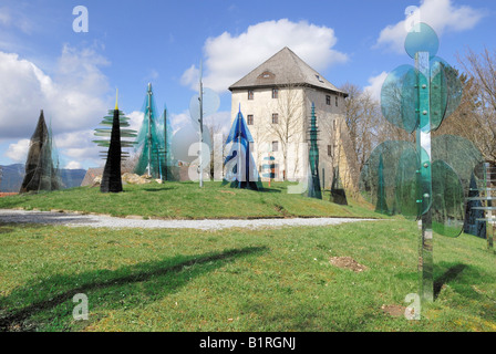 Sections of the Glaeserner Wald, Glass Forest in front of the Fressende Haus, Gorging House near Regen-Weissenstein, - Stock Photo