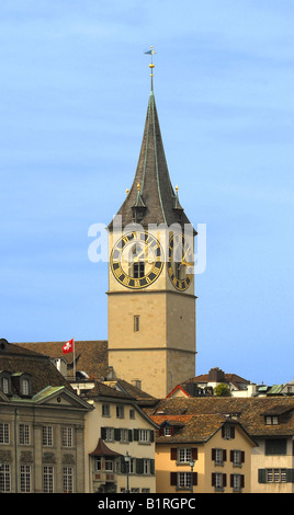 Clock tower of St. Peterskirche, St. Peter's Church, largest clock face in Europe, Zurich, Switzerland - Stock Photo