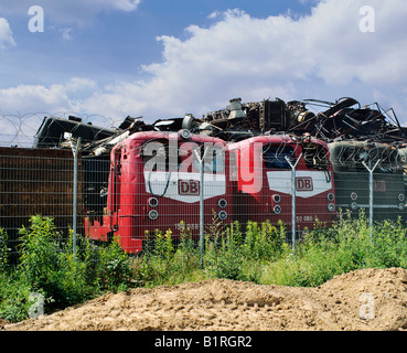 Three electric locomotives of DB, Deutsche Bahn, German Rail, in a recycling yard, North Rhine-Westphalia, Germany, - Stock Photo