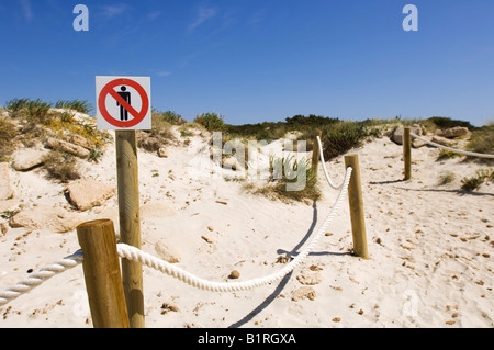 Path through sand dunes, no entry sign, Platja des Trenc, Majorca, Balearic Islands, Spain, Europe - Stock Photo