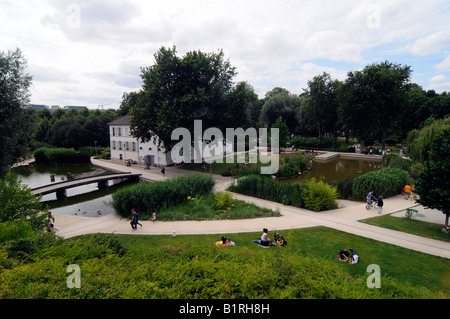 Overview of the Parc de Bercy, a garden landscaped in the 90s. Photo taken in Paris, France - Stock Photo