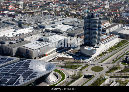 TV tower view over BMV World and the BMW building headquarters, Munich, Bavaria, Germany, Europe - Stock Photo