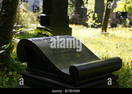 Gravestone of Otto Riehl, Alter Suedlicher Friedhof, Old Southern Churchyard, Isarvorstadt, Munich, Bavaria, Germany, - Stock Photo