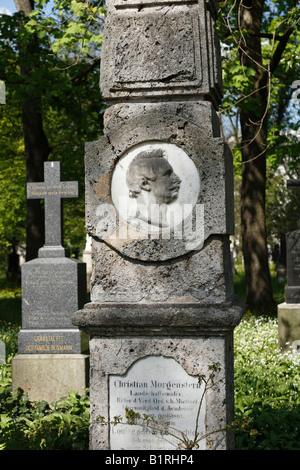 Gravestone of Christian Morgenstern, Alter Suedlicher Friedhof, Old Southern Churchyard, Isarvorstadt, Munich, Bavaria, - Stock Photo