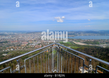 City and surrounding area of Zuerich, viewed from Uetliberg Tower, Canton of Zuerich, Switzerland, Europe - Stock Photo