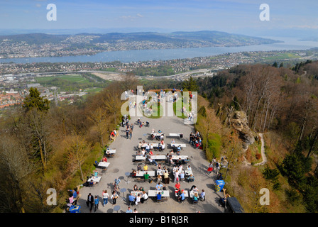 Visitor´s platform, viewed from Uetliberg Tower, Lake Zuerichsee at back, Zuerich, Canton of Zuerich, Switzerland, - Stock Photo