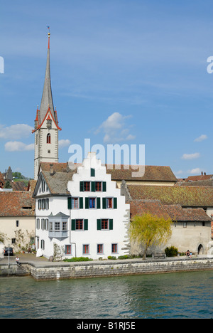 Historic part of town on the bank of the Rhine River, Stein am Rhein, Canton of Schaffhausen, Switzerland, Europe - Stock Photo