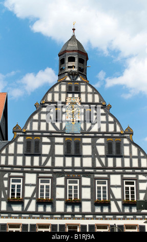 City hall, built 1559, half-timbered houses, Butzbach, Hesse, Germany, Europe - Stock Photo
