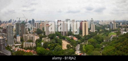 High-rise buildings and apartment blocks in the centre of Singapore, Southeast Asia - Stock Photo