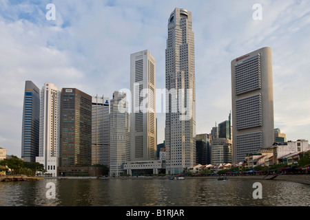 Boat Quay on the Singapore River at Marina Bay in front of the Financial District, Singapore, Southeast Asia - Stock Photo