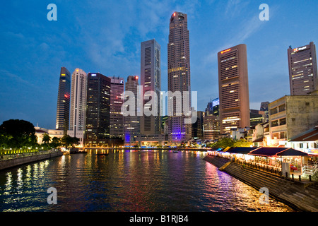 Financial District and Boat Quay on the Singapore River, Singapore, Southeast Asia - Stock Photo