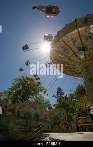 Chain carousel, traditional Waeldchestag, Frankfurt, Hesse, Germany, Europe - Stock Photo