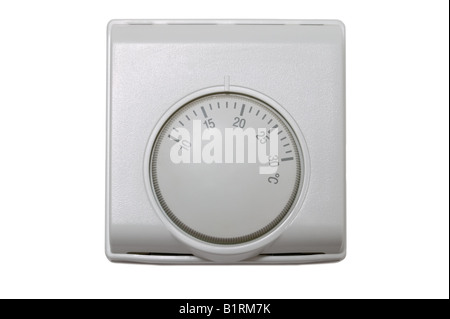 Central heating thermostat control isolated on a white background - Stock Photo