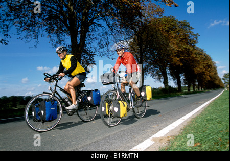 Bikers, Mueritz National Park, Mecklenburg-Vorpommern, Germany - Stock Photo