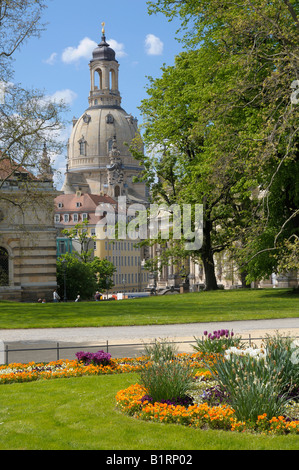 Park at the Elbe River bank, Frauenkirche Church, Dresden, Saxony, Germany, Europe - Stock Photo