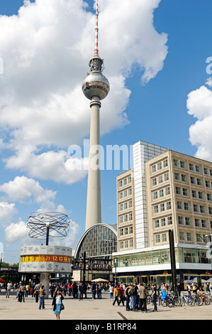 Weltzeituhr, World Time Clock and Fernsehturm, TV Tower, Alexanderplatz Square, Berlin, Germany, Europe - Stock Photo